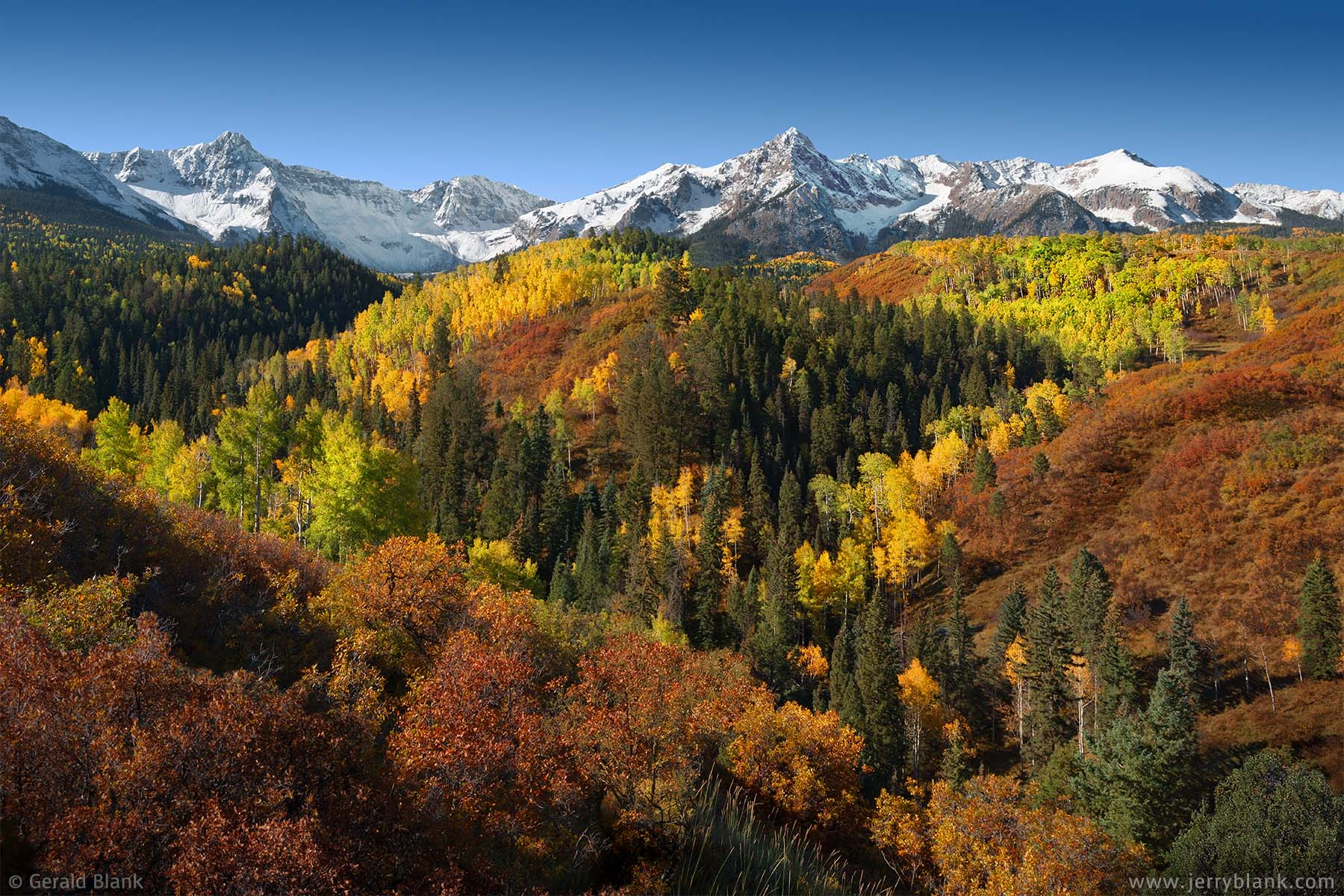 #06737 - Autumn colors near Mears Peak and Ruffner Mountain, San Juan Mountains, viewed from Ouray County Road 9 in Colorado - photo by Jerry Blank