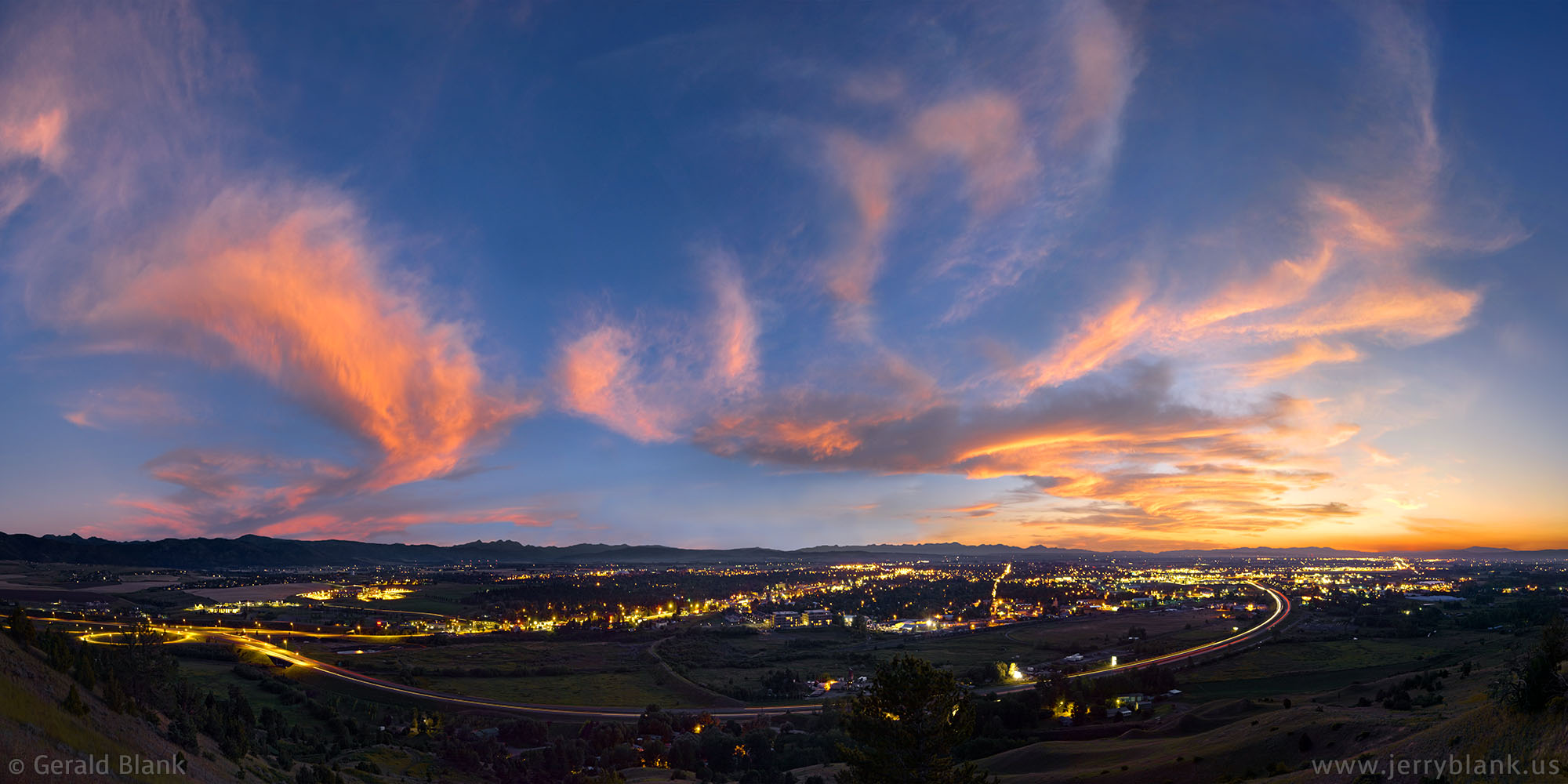#10506 - A panoramic view of Bozeman, Montana at dusk, as seen from the Story Hills trail - photo by Jerry Blank