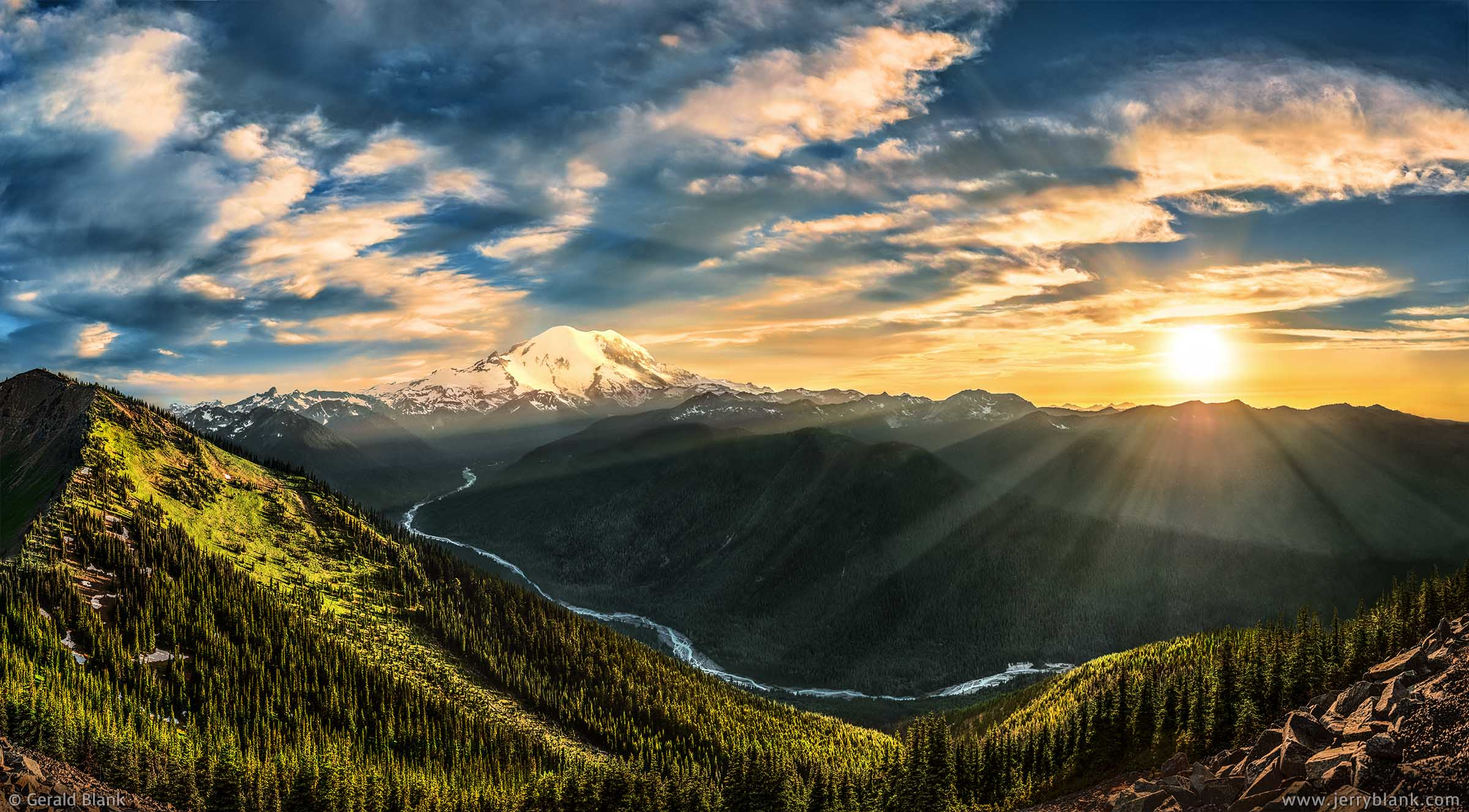 #31322 - Sunset over Mount Rainier and the White River valley in Washington, viewed from a trail near the summit of Crystal Mountain - photo by Jerry Blank