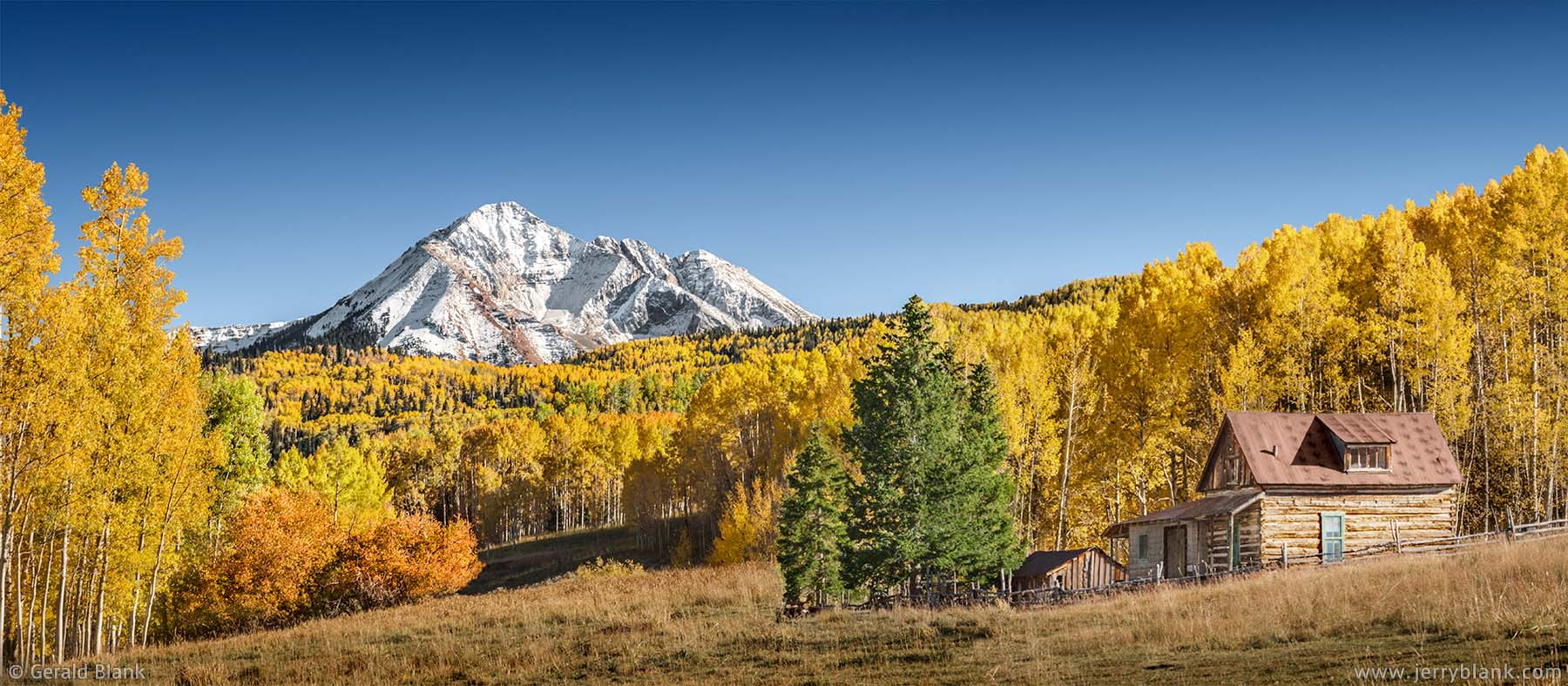 #07036 - Autumn view of Sunshine Mountain from old cabin on Wilson Mesa, southwest of Telluride, Colorado - photo by Jerry Blank