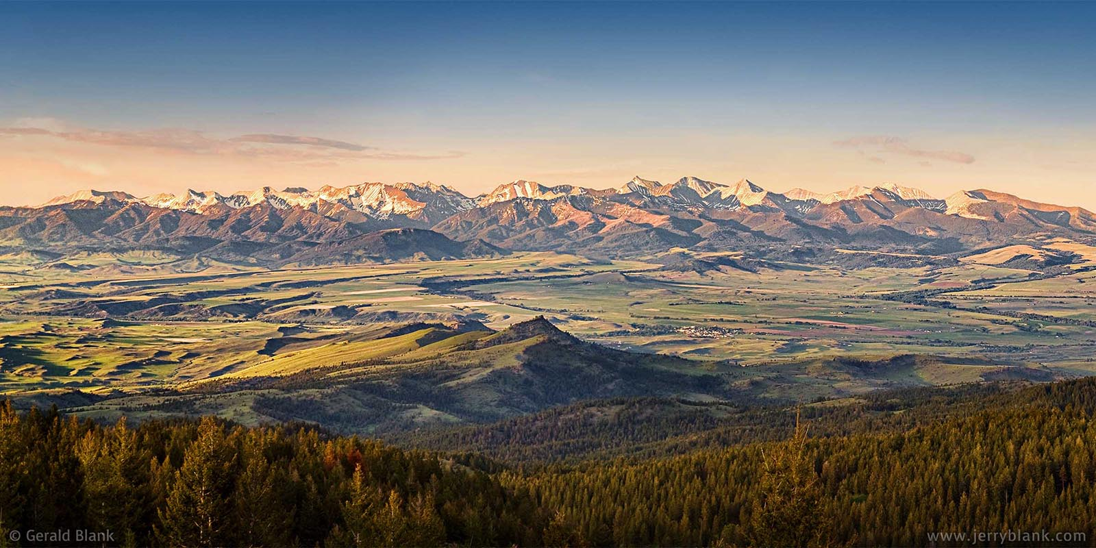 #07945 - Panoramic view of the Crazy Mountains in Montana, captured shortly before sunset in midsummer - photo by Jerry Blank