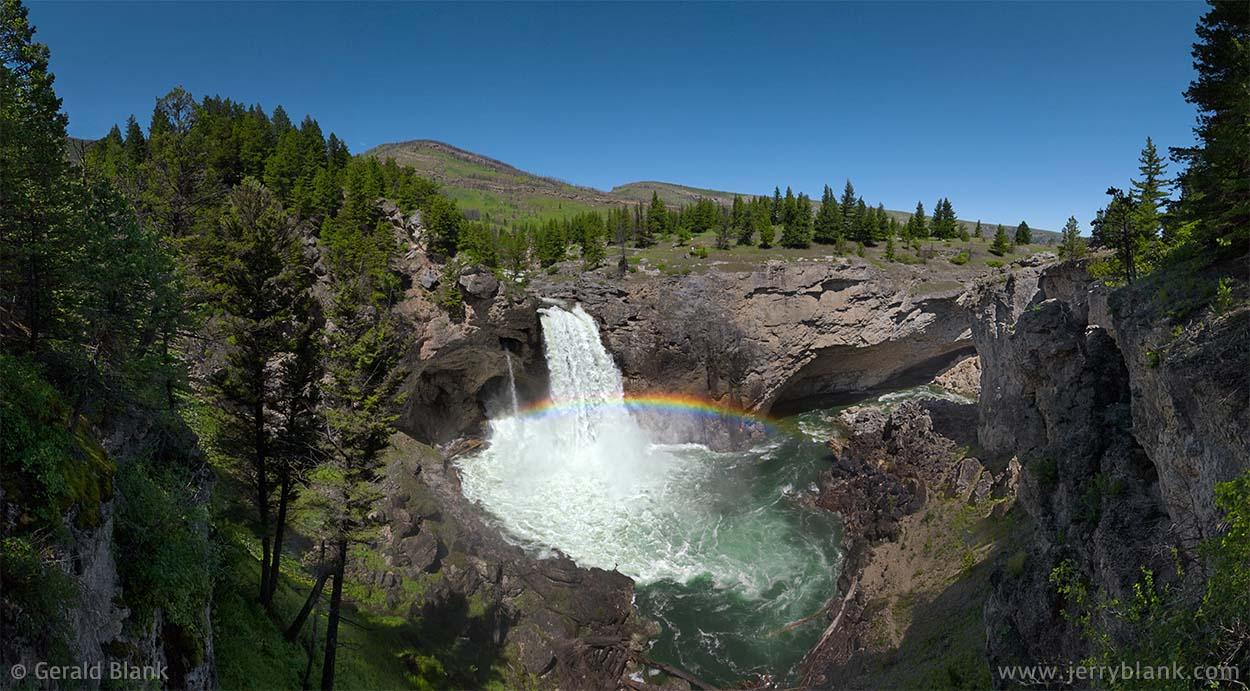 08388 - Rainbow over Natural Bridge Falls on the Boulder River, at Natural Bridge Falls State Park near Big Timber, Montana - photo by Jerry Blank