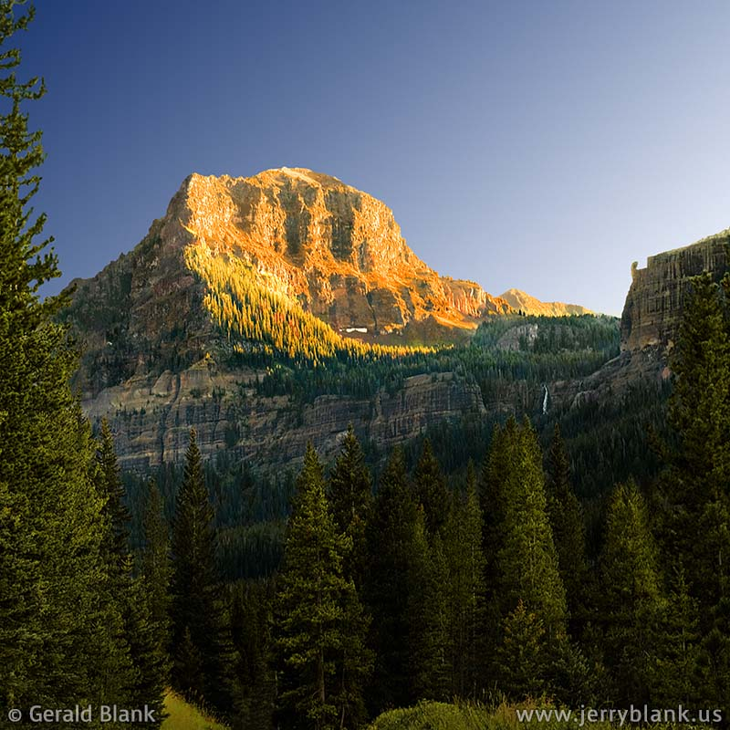 #10645 - Evening sunlight on Palace Butte in Hyalite Canyon, Custer Gallatin National Forest, Montana - photo by Jerry Blank