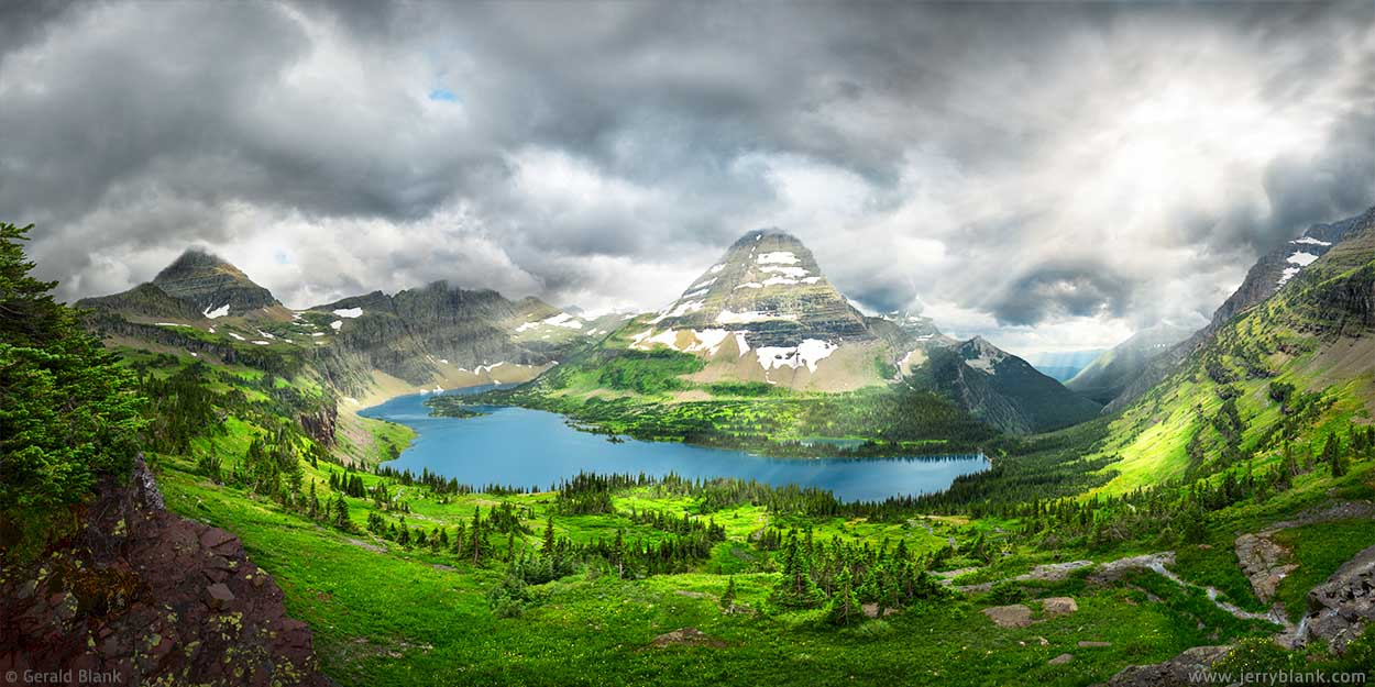 #24848 - A panoramic view of Hidden Lake and Bearhat Mountain, in Glacier National Park, Montana, captured as afternoon clouds begin to envelop Bearhat Mountain and the ridge of the Continental Divide - photo by Jerry Blank
