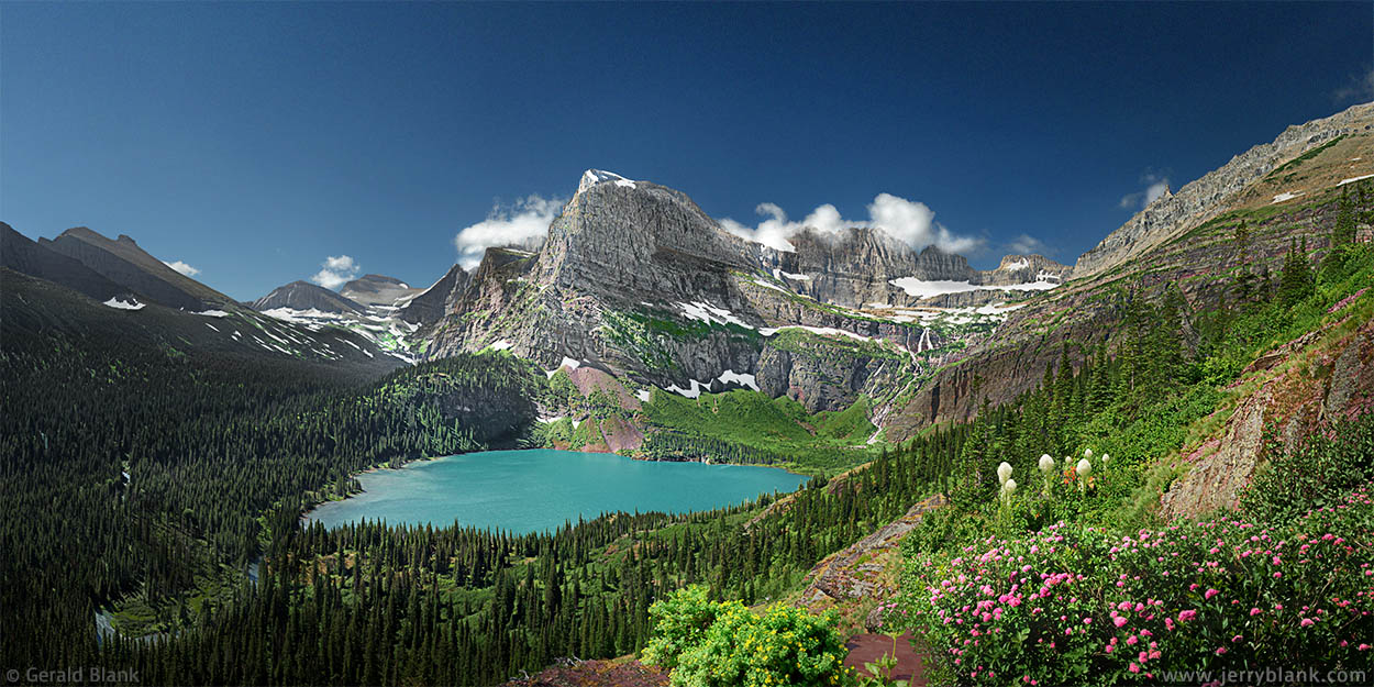 #25018 - A summer view looking south toward the Cataract Creek and Grinnell Glacier valleys in Glacier National Park, Montana. Angel Wing and Grinnell Lake are in the center of the image - photo by Jerry Blank
